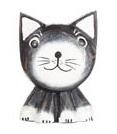 Magnet i trä - Katt (svart huvud)