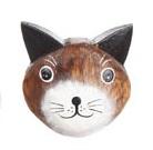 Magnet i trä - Katt (brunt huvud)