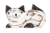 Magnet i trä - Katt (vit liggande)