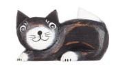 Magnet i trä - Katt (svart liggande)