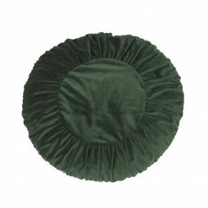 Rund grön sammetskudde, dia 50 cm (inkl innerkudde)