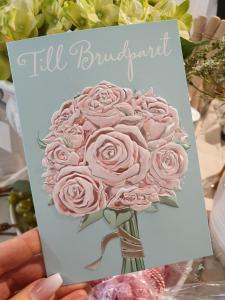 Till Brudparet (rosa rosor), kort från Pictura