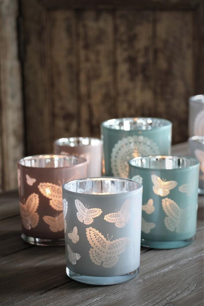 Maja, Happiness Butterflies - Vit ljuslykta (stor)