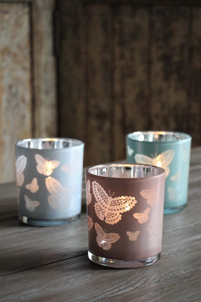 Maja, Happiness Butterflies - Ljusrosa ljuslykta (stor)