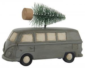 Grå bil med julgran på taket, Ib Laursen