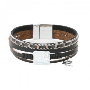 Armband, 4 remmar i svart med matt silverbricka och strass (Gemini)