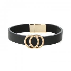 Armband, Svart läderrem med 2 guldiga cirklar (Gemini)
