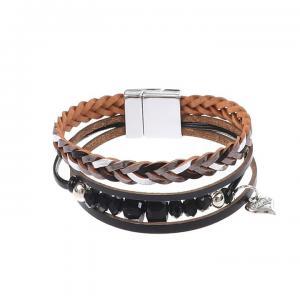 Armband, 4 remmar i svart/silver (Gemini)
