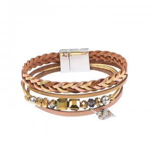 Armband, 4 remmar i brunt/brons (Gemini)