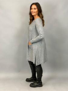 Stickad klänning med fickor, Grå (Alina) - Mix by Heart
