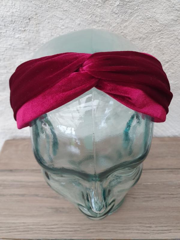 Diadem i sammet - med knut, vinröd