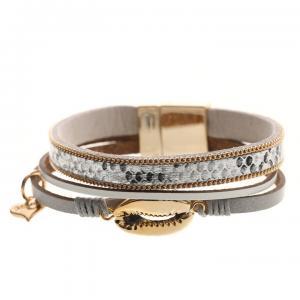 Armband, 3 remmar i silver/grått och guldsnäcka