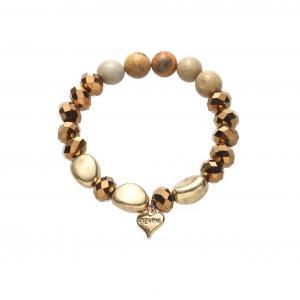 Armband, elastiskt i brunt/koppar/guld