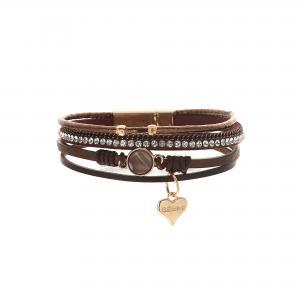 Armband, 4 remmar i brunt läder, strass och pärlemorfärgad sten - Gemini