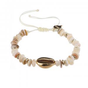 Armband, cremefärgat med gulddetaljer och guldsnäcka