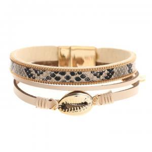 Armband, 3 remmar i beige/croco och guldsnäcka