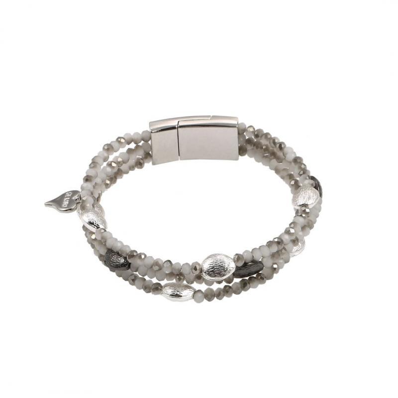 Gemini Armband, 3 rader pärlor, med silver- och rökfärgade metalldetaljer
