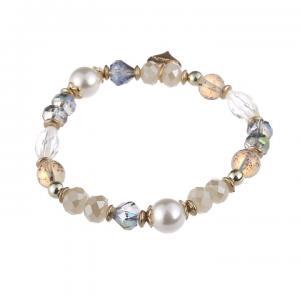 Armband, Elastiskt i vitt/creme/ljusblått (Gemini)