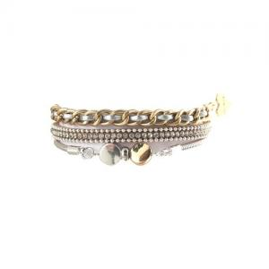 Armband, 1 rem med strass + 2 kedjor i guld/silver - Gemini