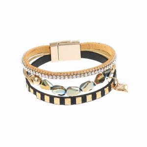 Armband, 4 remmar i svart/guld (Gemini)