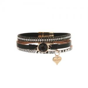 Armband, 3 remmar Svart, leo och strass - Gemini