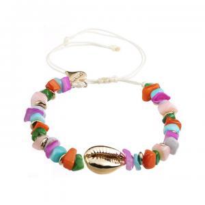 Armband, färgade stenar med gulddetaljer och guldsnäcka