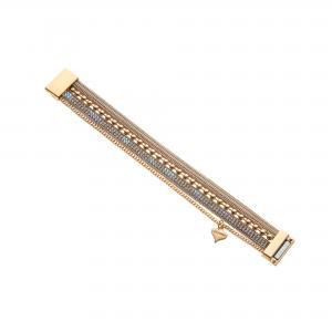 Armband, 1 rem med strass, 1 rem med pärlor + 2 kedjor i guld - Gemini