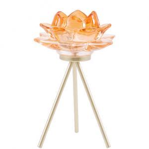 Ljusstake Lotusblomma, orange (Miljögården)