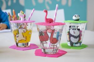 Bambini Set 9 delar Flamingo, Panda, Enhörning - Glas, Lock & Underlägg - Leonardo
