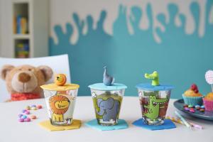 Bambini Set 9 delar Lejon, Krokodil, Elefant - Glas, Lock & Underlägg - Leonardo