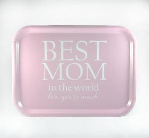 Bricka: Best mom in the world, rosa - Mellow Design (rektangulär)