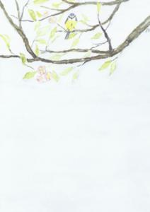Dubbelvikt kort i akvarell - Blåmes