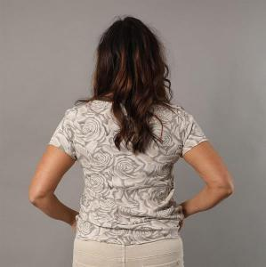 Blommig t-shirt med V-hals, Beige (Tuva) - Mix by Heart