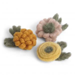 Blommor i tovad ull (små), set om 3 - En Gry & Sif   (10011)