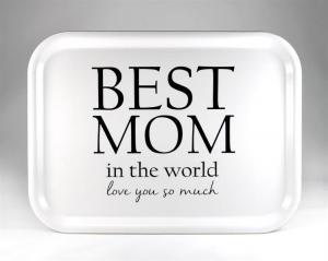 Bricka: Best mom in the world, vit - Mellow Design (rektangulär)