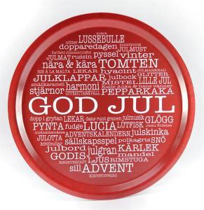 Bricka: GOD JUL (röd med julinspirerande ord) - Mellow Design (rund)