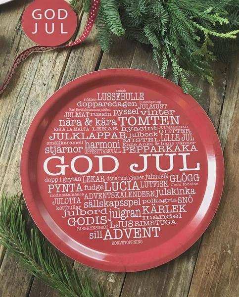 Bricka: GOD JUL - Mellow Design (rund, röd med vit text)