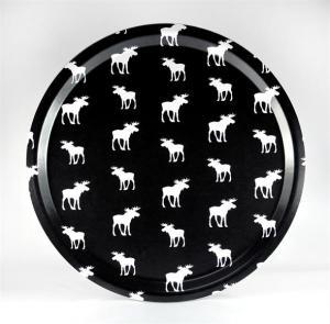 Bricka: Små vita älgar - Mellow Design (rund, svart med vita älgar)