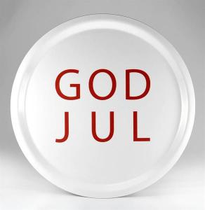 Bricka: GOD JUL (vit med röd text) - Mellow Design (rund)