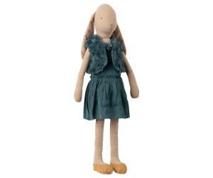 Bunny Kanin med petrol klänning och pälsväst, Size 5 - Maileg