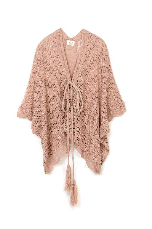 Nüd Rosa finstickad poncho - Narciso Blush