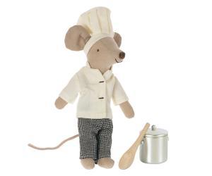 Chef mouse w. soup pot and spoon - Maileg     LEV NOV/DEC