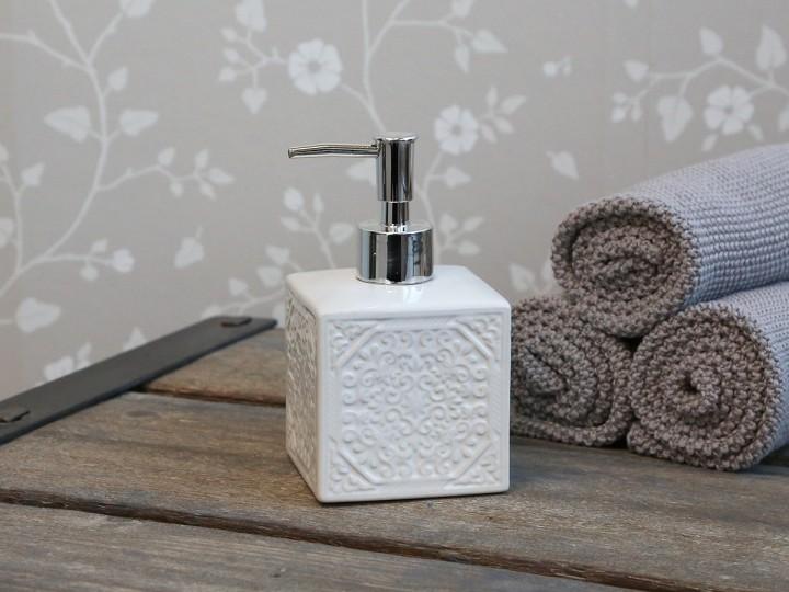 Tvålpump, vit mönstrad - Chic Antique