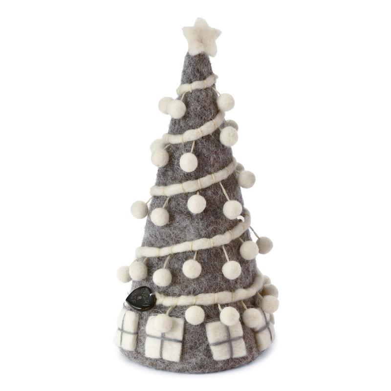 Tovad grå julgran med vita pom poms - En Gry & Sif