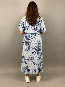 Storblommig klänning med volang, Blå (Clara) - Mix by Heart
