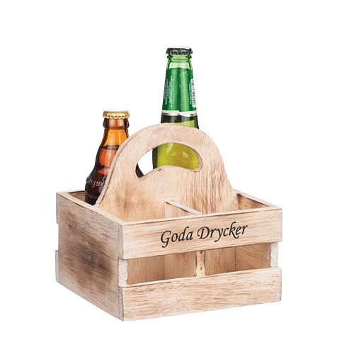 Goda drycker, back i trä med plats för 4 flaskor (inkl öppnare)