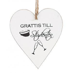 """Tags i trä, hjärta: """"Grattis till studenten"""" (med champagneglas)"""
