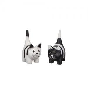 Katt i trä, svart/vit