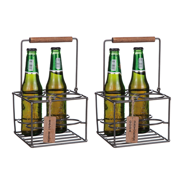 Goda drycker, Dryckeslåda i trä och smide - med plats för 4 flaskor
