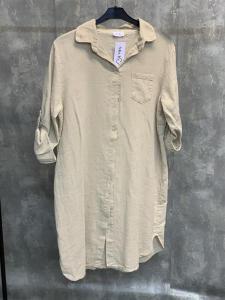 Långskjorta i linnemix, beige (Elicia) - Mix by Heart